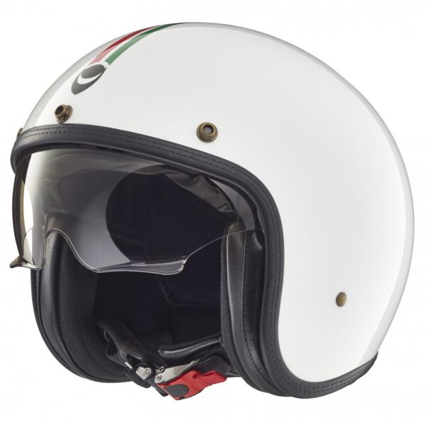 Helmo Milano casco jet, Audace, Italy Flag, blanco