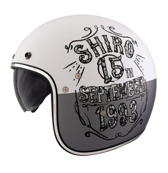 Shiro Casco Jet, SH235, Born, gris/blanco/mate