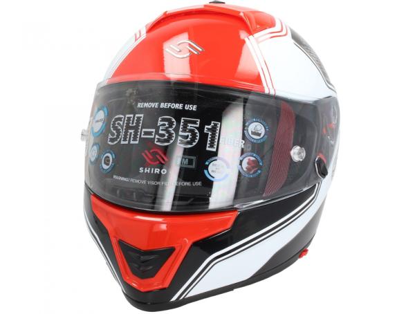 Shiro Casco Integral, SH351, Fiber, F4, rojo