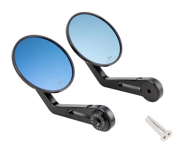 Espejo extremo manillar ZELIONI para Vespa, negro anodizado, izquierda e derecha