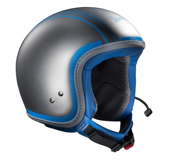 Original Casco Jet Vespa Elettrica Tech cromado azul con Bluetooth integrado
