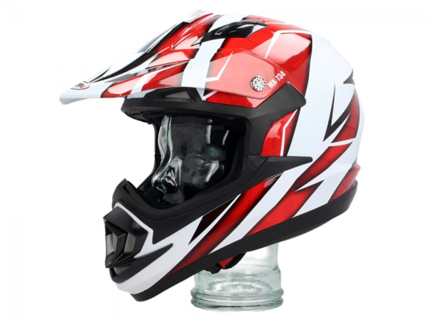 Shiro Casco Off Road, MX734, Troy, blanco/rojo