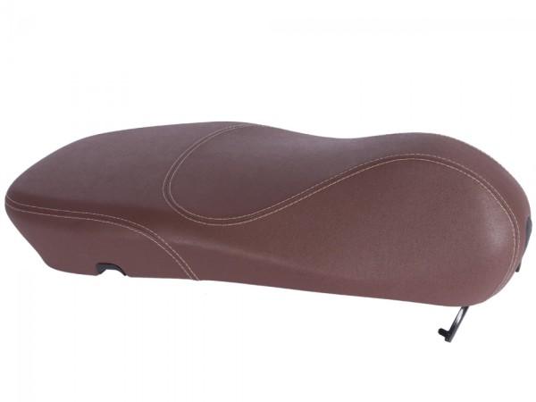 Asiento original de Vespa para Vespa Primavera marrón con costuras blancas