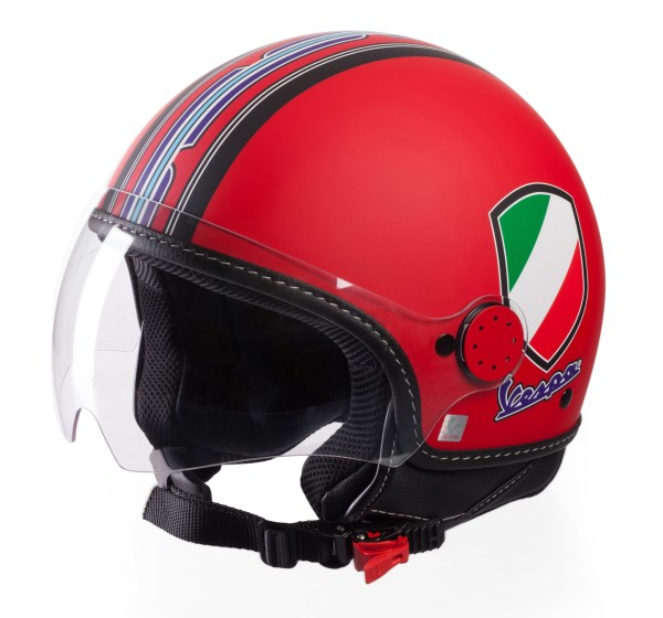 Casco Demi Jet Vespa V Stripes Rojo