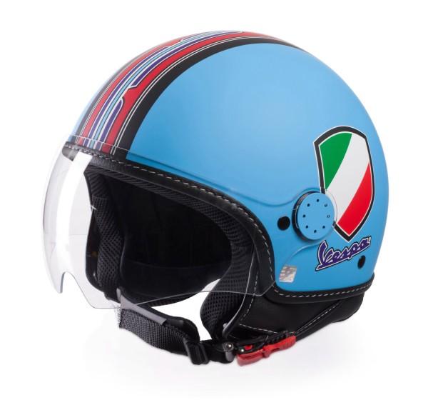 Casco Demi Jet Vespa V Stripes Azul