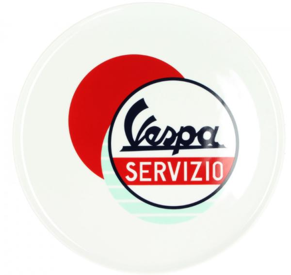 Placa Vespa Servizio blanco azul rojo