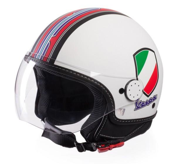 Casco Demi Jet Vespa V Stripes Blanco