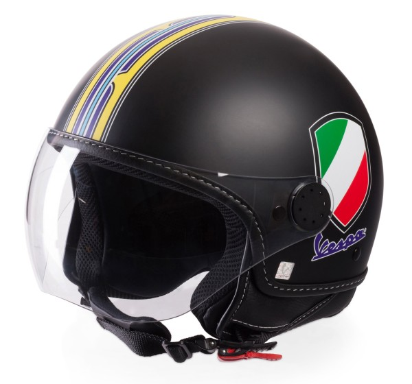 Casco Demi Jet Vespa V Stripes Negro