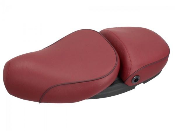 Asiento de cuero real Vespa 2 plazas rojo para LX 50-150cc Touring, ET2 / ET4 / LX / LXV / S 50-150cc-
