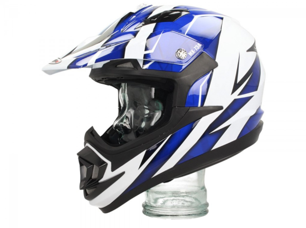 Shiro Casco Off Road, MX734, Troy, blanco/azul