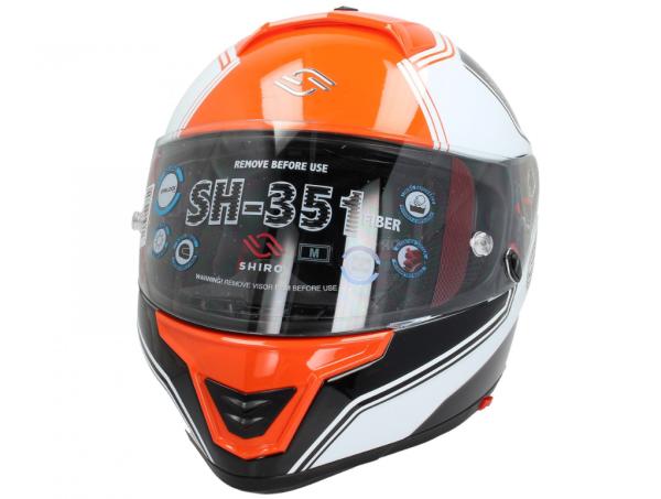 Shiro Casco Integral, SH351, Fiber, F4, naranja