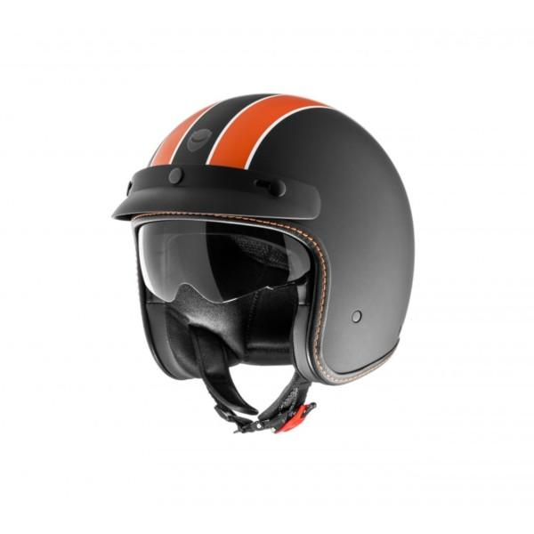 Helmo Milano casco abierto, Audace Daytona, negro mate, naranja, mate
